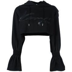 Kenzo 'Signature' cropped hoodie ($321) ❤ liked on Polyvore featuring tops, hoodies, black, long hoodie, hoodie crop top, long hooded sweatshirt, long sleeve tops and hooded sweatshirt