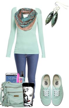 Toss on your African Turquoise earrings and a yummy mint sweater for a quick and easy outfit. I Love Fashion, Teen Fashion, Passion For Fashion, Spring Fashion, Winter Fashion, Fashion Outfits, Womens Fashion, Fashion Design, Cute Summer Outfits