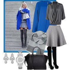 """Grey & blue"" by milkalilien on Polyvore"