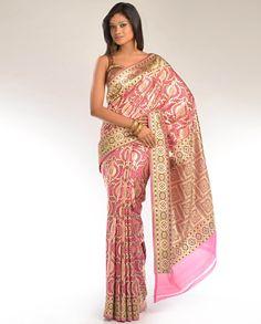 bubblegum pink sari with gold zari
