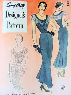 1940s GORGEOUS Cocktail Evening Party Dinner Dress Pattern SIMPLICITY DESIGNERS 8095 Richly Shirred Lace Insert Neckline Totally Stunning Style Bust 32 Vintage Sewing Pattern