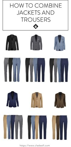 There's something intimidating about mixing and matching suits. Yet, it's one of those things that when done right, can give you a million more outfit options. Alright, so maybe not a million more but certainly more than before. Let us give you some tips for how to combine your jackets and trousers to get the most out of your capsule. Black Jacket A black blazer looks best with black, grey or light blue pants. You could also wear khaki, olive or patterned pants with a black blazer. St...