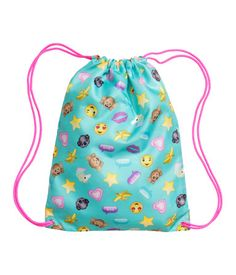 f9de4d7da603 H M Turquoise Emoji. Patterned gym bag with a drawstring at top. Narrow