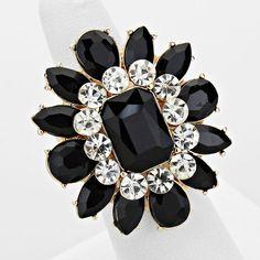 Black Crystal Flower Stretch Cocktail Ring – JaeBee Jewelry