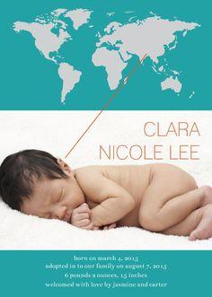 """World Adoption Map"" Photo Birth Announcement"
