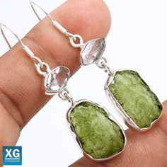 Herkimer-Diamond-Moldavite-925-Silver-Earrings-Jewelry-SE48488