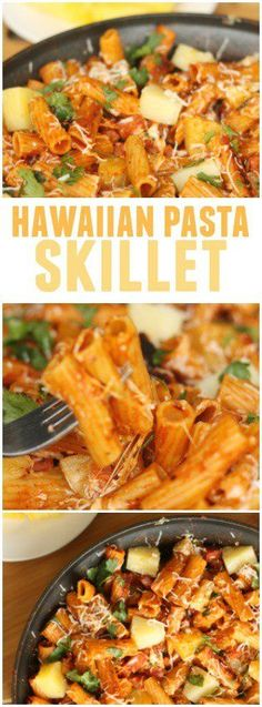 Hawaiian Pasta Skillet from Six Sisters' Stuff | A favorite go-to recipe for those busy days. This family dinner is easy to make and tastes amazing. You'll be lucky if there are any leftovers for lunch the next day!