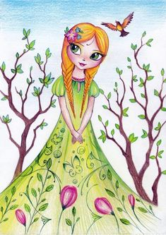 Diy And Crafts, Crafts For Kids, Arts And Crafts, Drawing For Kids, Art For Kids, Fairy Drawings, Spring Fairy, Fairy Princesses, Morning Greeting