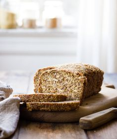 This gluten-free, vegan bread recipe uses no leavening, and it bakes up into a dense, toothsome loaf that makes killer toast. Easy peasy and über-healthy, what's not to love?  My holistic chiropractor