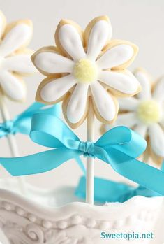 "When my girls were younger, I made flower cookies (and shamrocks) and baked them on lollipop sticks.  I put a ""bouquet"" of floral cookies in a basket and covered that with Easter grass.  I always took this to Easter parties and field day events.  The kids and adults loved them!  :)"