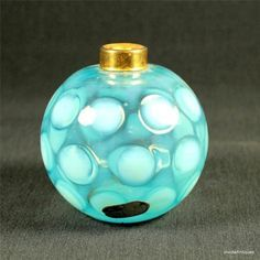 1947 Fenton Blue Opalescent Coin Dot Glass DEVILBISS Perfume Bottle