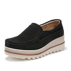 fbe056e90ec4 HKR-JJY3088heise35 Women Platform Slip On Loafers Comfort Suede Moccasins  Wide Low Top Wedge Shoes