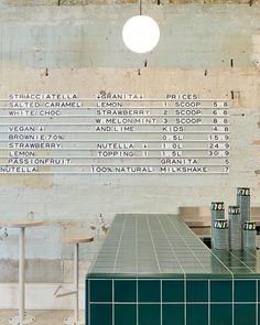 Melbourne-based Piccolina Gelateria by Hecker Guthrie references southern Italy. Café Design, Design Retro, Vintage Design, Store Design, Interior Design, Hotel Restaurant, Plaza Hotel, Restaurant Design, Modern Restaurant