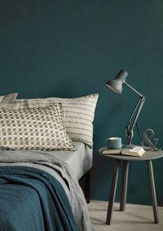 une chambre avec un mur peint en bleu canard pour une style affirmé