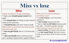 English for beginners: Miss vs Lose