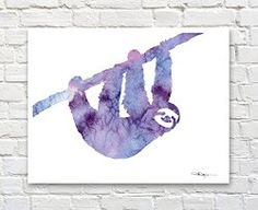 Decorate any room with this abstract watercolor of a friendly sloth Gifts for People Who Love Sloths — #Gifted