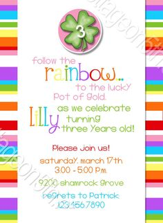 Lucky Little Lady 1 - St Patricks Day - Printable Birthday Party Card Invitation - Digital File - Great for ANY AGE 1st, 2nd, 3rd, 4th, 5th birthday, etc. Personalize it at www.kottageon5th.etsy.com