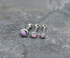Purple Opal Triple Helix ,Triple Forward Helix, Flat Back Surgical Steel Internally Thread Piercing Jewelry 16G 18G, Helix Earring Studs