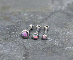 Purple Opal Triple Helix ,Triple Forward Helix, Flat Back Surgical Steel Internally Thread Piercing Jewelry 16G 18G, Helix Earring Studs