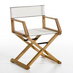 Fauteuil metteur en scène Placido, design Gallina AM. Outdoor Folding Table, Wooden Folding Chairs, Folding Furniture, Outdoor Chairs, Dining Chairs, Outdoor Furniture, Conservatory Chairs, Rattan Garden Chairs, Rattan Rocking Chair
