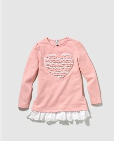 Camiseta de niña en rosa con puntilla