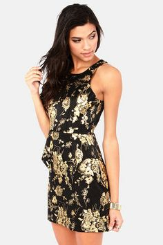 Rose and Cons Gold and Black Dress
