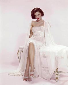 Natalie Wood in a white peignoir set