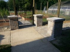 """Community Garden Entrance - Made with 11.5"""" Bertram Wall Available at Lowe's everywhere!"""