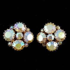 Signed WEISS Vintage Clip Earrings AB Crystal Rhinestone Cluster Flower I106