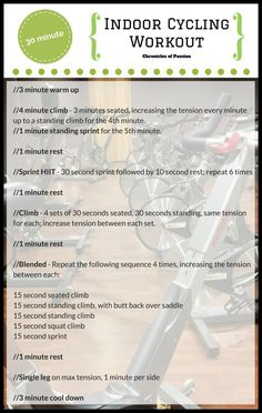 30 minute high intensity indoor cycling workout. Perfect for cross training.