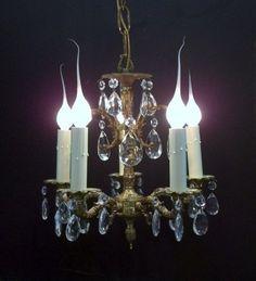 Small Five Light Brass Crystal Chandelier Petite Crystal Chandelier Five Arm…