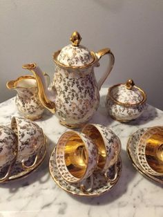 Stunning Gold Chintz Dresdner Demitasse Tea Set 15 PC Made in Bavaria Germany | eBay