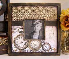 5x7 Wood Family Photo Frame Handmade Bling Key Steampunk. $44.00, via Etsy.