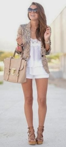 Really love this blazer with the white outfit. Awesome for summer. Pin now, check later.