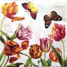 Decoupage servilletas tulipanes N mariposas por DaisysNapkinSupply