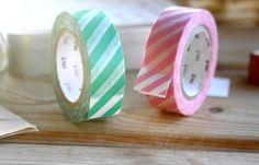 mt Washi Masking Tape Streifen Rosa Grün von krealiebst auf DaWanda.com