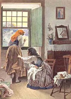 """Bedroom interior with """"codfish tail"""" chair by Mestre Alfredo Roque Gameiro Johannes Vermeer, Edwardian Fashion, Vintage Images, Painting, Watercolor, Antiques, Illustration, Anime, Poster"""