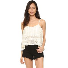 Free People Sydney Lace Blouse ($125) ❤ liked on Polyvore featuring tops, blouses, ivory, white blouse, free people tops, lace crop top, ivory lace blouse e bandeau tops