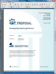 Legal Services Proposal - The Legal Services Proposal is an example of a proposal using Proposal Pack to offer legal services to a potential client. Create your own custom proposal using the full version of this completed sample as a guide with any Proposal Pack. Hundreds of visual designs to pick from or brand with your own logo and colors. Available only from ProposalKit.com (come over, see this sample and Like our Facebook page to get a 20% discount)
