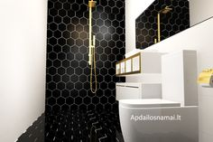 small bathroom interior/ black and white bathroom/ hexatiles with big white wall tiles/ modern interior with cooper details/ mazos vonios interjeras/ juoda balta vonia/ sesiakampes plyteles/ grindinines plyteles/ sienines plyteles/ www.apdailosnamai.lt