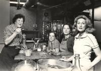 """On the set of """"Julia Child & More Company,"""" at the WGBH studios in Boston, 1979. From left: Queen Bee Julia Child, staffers Sara Moulton, Marian"""