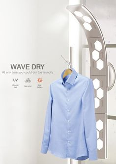 Wave Dry – Indoor Solar Laundry Dryer. The Wave Dry is an innovative concept that looks at drying clothes faster and in a cost-effective way. It basically is this solar device that can be charged via the windows of the house. The soaked up solar goodness is used to power the drying UV lights and hot air.
