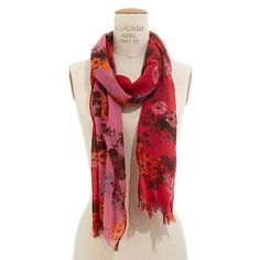 windowbox scarf  $52.00 Item#13232  Vintage-inspired painted flowers add a feminine lightness to this fringed woolen scarf.