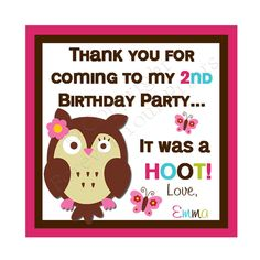 Owl Theme Gift Tags Birthday Party
