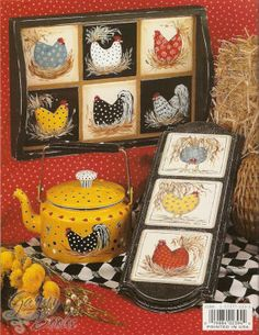 rooster and chickens painting books Rooster Craft, Rooster Plates, Rooster Decor, Painted Trays, Painted Books, Hand Painted, Chicken Crafts, Chicken Art, Arte Country