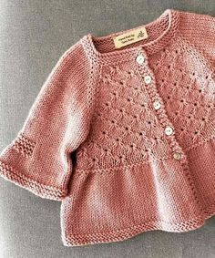"""Ravelry: Alouette pattern by Lisa Chemery"", ""Discover thousands of images about Ravelry: Round Yoke Card Knit Baby Dress, Knitted Baby Cardigan, Knitted Baby Clothes, Knitting For Kids, Baby Knitting Patterns, Baby Patterns, Knit Or Crochet, Crochet Baby, Crochet Flor"