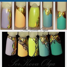 Water marbling is becoming a hot trend these days in the world of nail art. Nail Art Hacks, Gel Nail Art, Nail Art Diy, Butterfly Nail Designs, Nail Art Designs, Foil Nails, 3d Nails, Sculpted Gel Nails, Art Simple