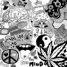 Psychedelic Drawings, Trippy Drawings, Doodle Drawings, Doodle Art, Trippy Painting, Painting & Drawing, Hippie Art, Hippie Drawing, Acid Art
