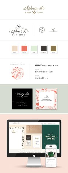 Branding for Spruce Rd.: This is really beautiful. Love the little logo icons and the colour palette is lovely.