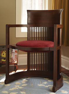 Frank Lloyd Wright originally designed this reproduction barrel chair for his Taliesin home in Wisconsin. Craftsman Furniture, Deco Furniture, Design Furniture, Living Room Furniture, Modern Furniture, Plywood Furniture, Chair Design, Dresser Furniture, Simple Furniture